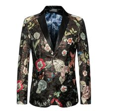 Mens Floral Blazer Brand Casual Blazer Jacket Men Gold Flower Fashion Print Blazers Male Prom Party Stage Wear Pure And Mild Flavor Suits & Blazers Blazers