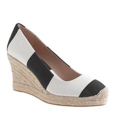 B&W stripe espadrille wedge ***NO TRADES*** brand new, worn once with box espadrille wedge. These are a gorgeous, timeless shoe and I wish they fit me! I usually wear a 9 and my mom bought a 9.5. Please no low ball offers these are brand new. J. Crew Shoes Espadrilles