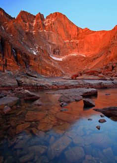Chasm Lake and Longs Peak, Rocky Mountain National Park, Colorado, photo by Stan Rose
