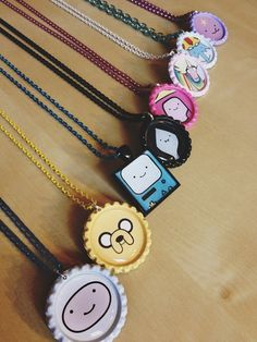 Time for an Adventure Necklace - Handmade - Finn Jake BMO Marceline Princess Bubblegum Lady Rainicorn Ice King LSP Lumpy Space Princess Lemongrab Flame Princess