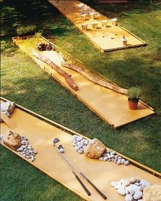 diy mini golf - set up basic golf run and change out obstacles. perhaps use simple sheet metal / cheapo paneling / left over plywood. pool noodles on edges for bumpers and no splinters, etc?