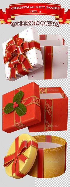 #3D #Christmas Gift Boxes Ver. 2 - Objects 3D #Renders