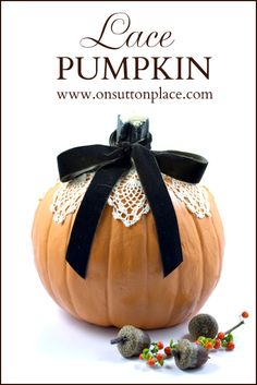 Super easy Mod Podge Lace Pumpkin that is so quick you won't believe it. Adds a classic, vintage touch to your fall decor!
