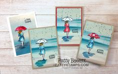 "Beautiful You ""lady in the rain"" note cards colored with Watercolor Pencils. Serene Scenery paper stack background and Gorgeous Grunge raindrops. By Patty Bennett"