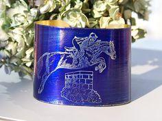 "HORSE Bracelet Etched Brass Cuff  Follow your dreams 2"" wide handmade royal sapphire blue Joann Hayssen SRA"