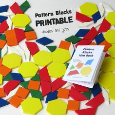 Renew your interest in pattern blocks with this free mini idea book printable...