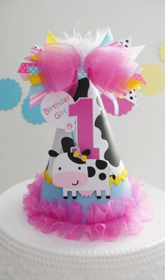 Lil' Cow Barnyard Cutie - Blue, Pink and Yellow Birthday Party Hat - Personalized - Farm Party, Cowgirl Party Yellow Birthday Parties, Wild One Birthday Party, Birthday Party Hats, Farm Birthday, Girl First Birthday, First Birthday Parties, First Birthdays, Elmo Party, Mickey Party