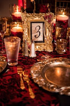 Gold Framed Table Numbers - Phantom of the Opera Halloween Wedding at the Bohemian Celebration in Celebration, FL - Photo by Bella Allure Imagery - click pin for more - www.orangeblossombride.com
