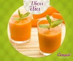 Com o verão batendo na nossa porta, uma dica saudável para se manter hidratada é beber muito líquido. Sucos são opções deliciosas e se você quer pegar um bronzeado, por que não experimentar um suco de cenoura com laranja? #dicaCampesí #Experimente #sucos #saúde