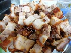 Lechon Kawali:  Ingredients:  1/2 kilo Pork Belly; 1 small lemon or 2 calamansi; 4 tablespoons soy sauce; 1/4 teaspoon ground pepper; salt to taste;  Procedure:  1. Mix all the ingredients. Since there is no time to marinate the meat just prick it with fork so that the taste of the marinating sauce will be soaked. 2. Deep fry the pork belly until it is cook. 3. Cut into bite size and serve with your favorite sauce. :-)