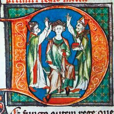 Arthur is crowned king in an image from the 13th-century chronicle 'Flores Historiarum'. (Alamy)