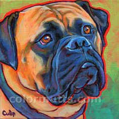 BULLMASTIFF Dog Original Art Painting on 8x8 canvas by colormutts, $130.00