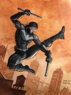 NIGHTWING - watercolor (2020) - W.B. Dc Comics Heroes, Dc Comics Art, Marvel Dc Comics, Comic Book Artists, Comic Artist, Character Art, Character Design, Batman Artwork, Superhero Design