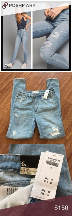 """NWT Abercrombie & Fitch high-rise super skinny 📦Same day shipping (excluding Sun/holidays or orders placed after P.O. Closed) ❤️Please ask any questions prior to buying. I want you to be completely Happy.  PRICE FIRM. These super trendy jeans are in a light wash with destroyed detailing. They are size 6L: 28W, 31L. Brand-new with tags in original bag. 59% cotton, 35% lyocell, 5% polyester, 1% elastane. Flat measurements: 15"""" waist, 11"""" rise. Five functional pockets. This style is completely…"""