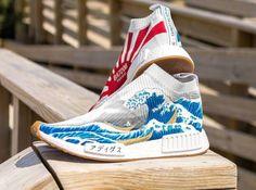 Chaussure Adidas NMD CS1 City Sock Hokusai La grande vague (5) Mens Fashion Shoes, Latex Fashion, Sneakers Fashion, Adidas Nmd R1, Sporty Outfits, Athletic Outfits, Milan Fashion Weeks, New York Fashion, Custom Sneakers