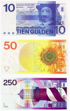 Dutch money by designer Ootje Oxenaar. …uploaded with love.