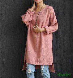 07036b993ca0 Fashion Women Tunic Causal Tops Cotton Linen Loose Fit Long Sleeve T-Shirts T  Shirt