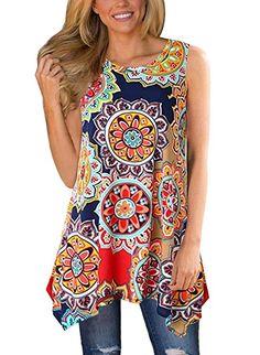 d9837d2f9fd Women s Tunics - MIROL Womens Summer Short Sleeve Floral Print Irregular  Hem Asymmetrical Loose Fit Tunic Tops at Women s Clothing store