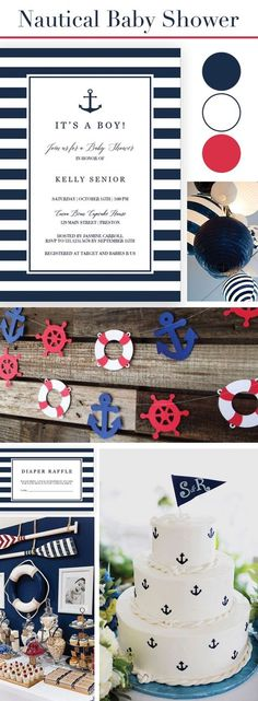 Nautical Baby Shower theme idea for boy. Nautical Baby Shower Invitation Set Navy Stripes. Make the perfect announcement of a baby shower with this printable nautical baby shower invitation set. Included in the set are the Invitation, a Diaper Raffle ticket and a Book Request Card. Personalize the items with your own words. Simply download, edit and print!