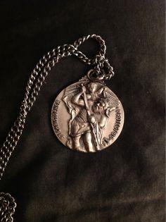St. Christopher Medal 1950s 1oz. Silver.