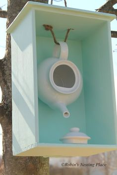 ROBINS NESTING PLACE: New Teapot Birdhouse. I would paint a black and robins egg blue damask print on the back, use a black rod iron handle to hold the tea pot (birds will use the rope to nest and the tea pot will fall), and add crown molding to the box.
