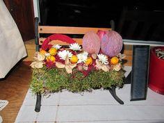 bloemstukje op bankje