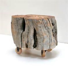 Reclaimed Wood Stump Footstool on Casters by realwoodworks1