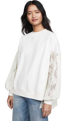 Clu Poet's Pullover With Lace Sleeves In Ivory/ivory Clu, Lace Sleeves, French Terry, World Of Fashion, Bell Sleeve Top, Crew Neck, Pullover, Fabric, Broadway