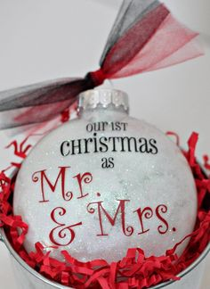 First Christmas personalized glitter ornament, shatterproof glitter Christmas ornament, Marriage First Christmas ornament by ILoveYouBunches on Etsy Cricut Christmas Ideas, Our First Christmas Ornament, Blue Christmas Decor, Christmas Couple, Christmas Ornament Crafts, Babies First Christmas, 1st Christmas, Christmas Baubles, Handmade Christmas