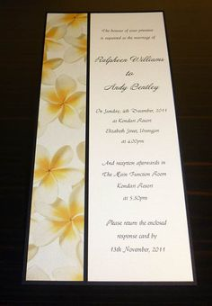 Frangipani wedding invitation Yellow by StunningStationery on Etsy, $4.00