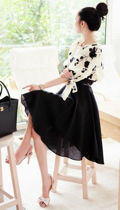 Full Black Skirt, Print Top & Top Knot.