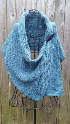 Teal Blue crocheted buttoned wrap by redbootyarnworks on Etsy