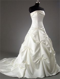 A-line Straight Neckline with Beadings and Ruffles Chapel Train Satin Wedding Dress WD1058 www.tidedresses.co.uk $233.0000