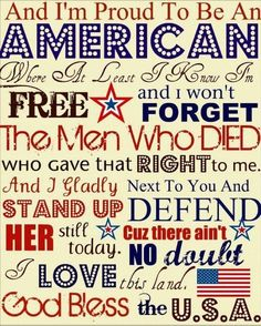 """Song Quote: """"I'm proud to be an American."""""""