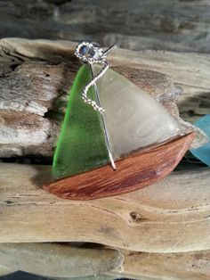Sea Glass Sailboat Pendant with Textured by SeaGlassSailboats, $65.00