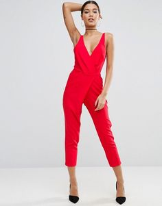 saturated red colour deep neckline overalls
