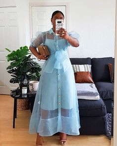 Classy Dress, Classy Outfits, Chic Outfits, Fashion Outfits, African Print Fashion, African Fashion Dresses, African Dress, Organza Dress, Modest Fashion