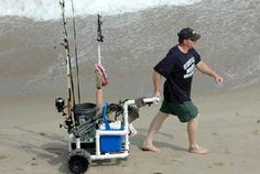 See our fishing cart gallery. Why use a fishing cart? Get ideas to build your own or tips for buying a fishing cart. We also show beach carts for those who don't fish but enjoy our beaches. Fishing Rod Storage, Fishing Rods And Reels, Fly Fishing Rods, Going Fishing, Best Fishing, Fishing Tips, Fishing Lures, Surf Fishing, Fishing Stuff