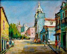 Praça da Lapa com igreja do Carmo, 1973 Sinhá d'Amora (Brasil, 1906-2002) [Fideralina Correia de Amora Maciel] óleo sobre eucatex, 33 x 41
