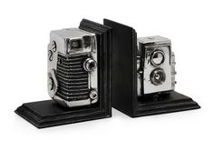 IMAX Vintage Camera Bookends - Replicated vintage camera bookend storage boxes