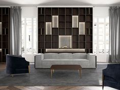 Open custom solid wood bookcase ATHENA by Capital Collection
