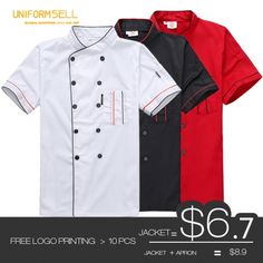 summer restaurant kitchen chef jacket (free logo more than 20 pcs) - UniformSELL Chef Shirts, Hotel Uniform, Restaurant Kitchen, Europe Fashion, Free Logo, Jacket Pattern, Summer Shorts, Chinese Style, Printed Shorts