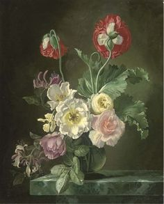 Roses and convolvulus in a glass vase on a stone ledge (+ Figures making a bed, verso) by Gerald A. Cooper