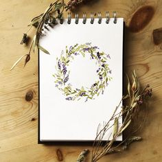 Taking a break from all things Christmassy with a little Lavender, a November #floralsyourway I only just got round to finishing! 🙈 . . . #floralwreath #drawing #doodle #watercolour