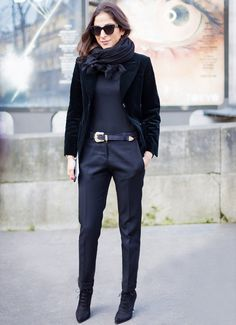 Trick 3: Try one color from head to toe.   The monochromatic look creates an uninterrupted visual line. Just make sure your ankle and tops of your feet are covered.  Photo courtesy of Style Du...