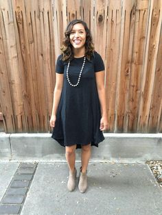 LuLaRoe Carly Dress is a great length and looks good as is or belted.