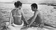 Romy Schneider and Alain Delon on vacation in 1961. Photos by Sandford Roth for French Magazine Paris Match.
