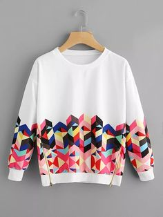 To find out about the Geo Print Zipper Side Drop Shoulder Sweatshirt at SHEIN, part of our latest Sweatshirts ready to shop online today! Girls Fashion Clothes, Teen Fashion Outfits, Trendy Fashion, Fashion News, Girl Fashion, Fashion Dresses, Clothes Women, Fashion Brands, Hoodie Sweatshirts