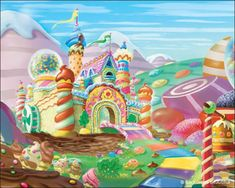 Candyland Backdrops 10 x 8 Candy Castle, Candy Photography, Candy Land Theme, Dance Themes, Cartoon House, Nostalgic Images, Candy House, Art Drawings For Kids, Drawing Ideas