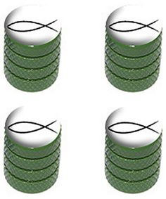 "(4 Count) Cool and Custom ""Diamond Etching Christian Fish Top with Easy Grip Texture"" Tire Wheel Rim Air Valve Stem Dust Cap Seal Made of Genuine Anodized Aluminum Metal {Green and White Colors}"